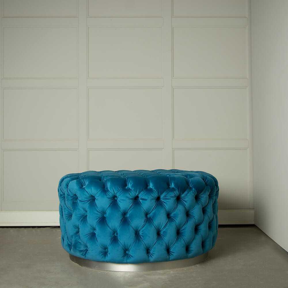 okrągła pufa pikowana glamour niebieska