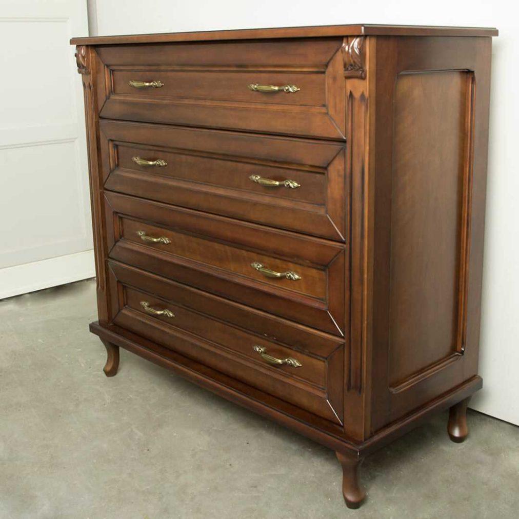 klasyczne, drewniana komoda z czterema szufladami, włoska, drewniana, na wymiar, dobrodzień, gliwice, katowice śląsk