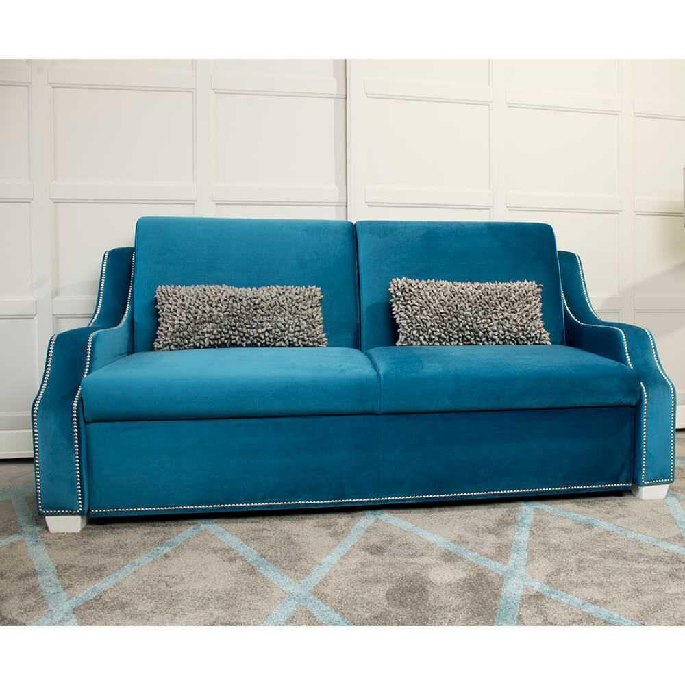 niebieska tapicera w stylu glamour