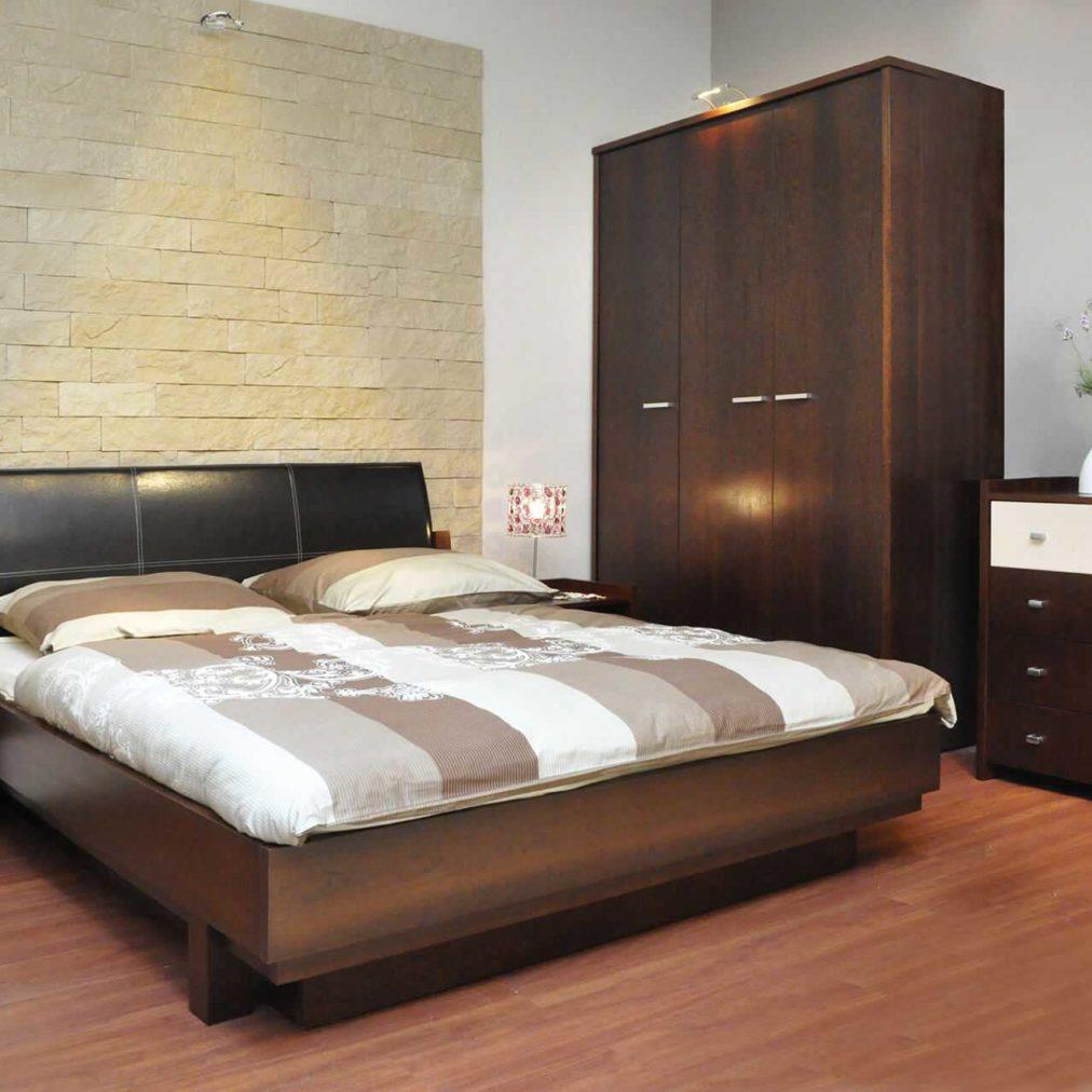 Nowoczesne łóżko EVIOS tapicerowane, meble na wymiar do sypialni, szafa, szafki nocne i komoda